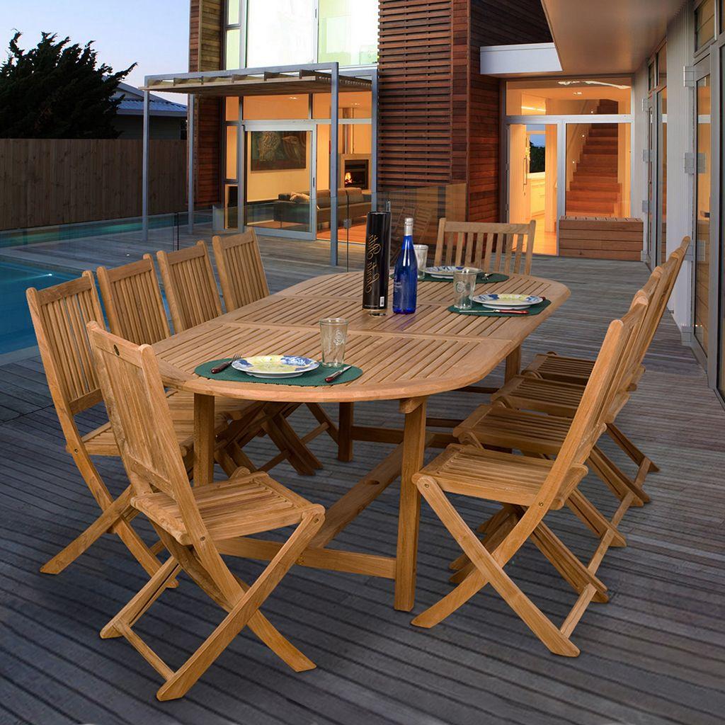 Amazonia Teak Dassow 11-pc. Extendable Oval Dining Set - Outdoor