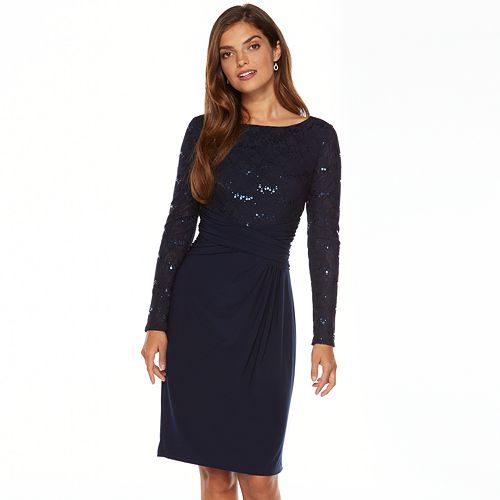 16eb8e923bf Chaps Mixed-Media Ruched Dress - Women s