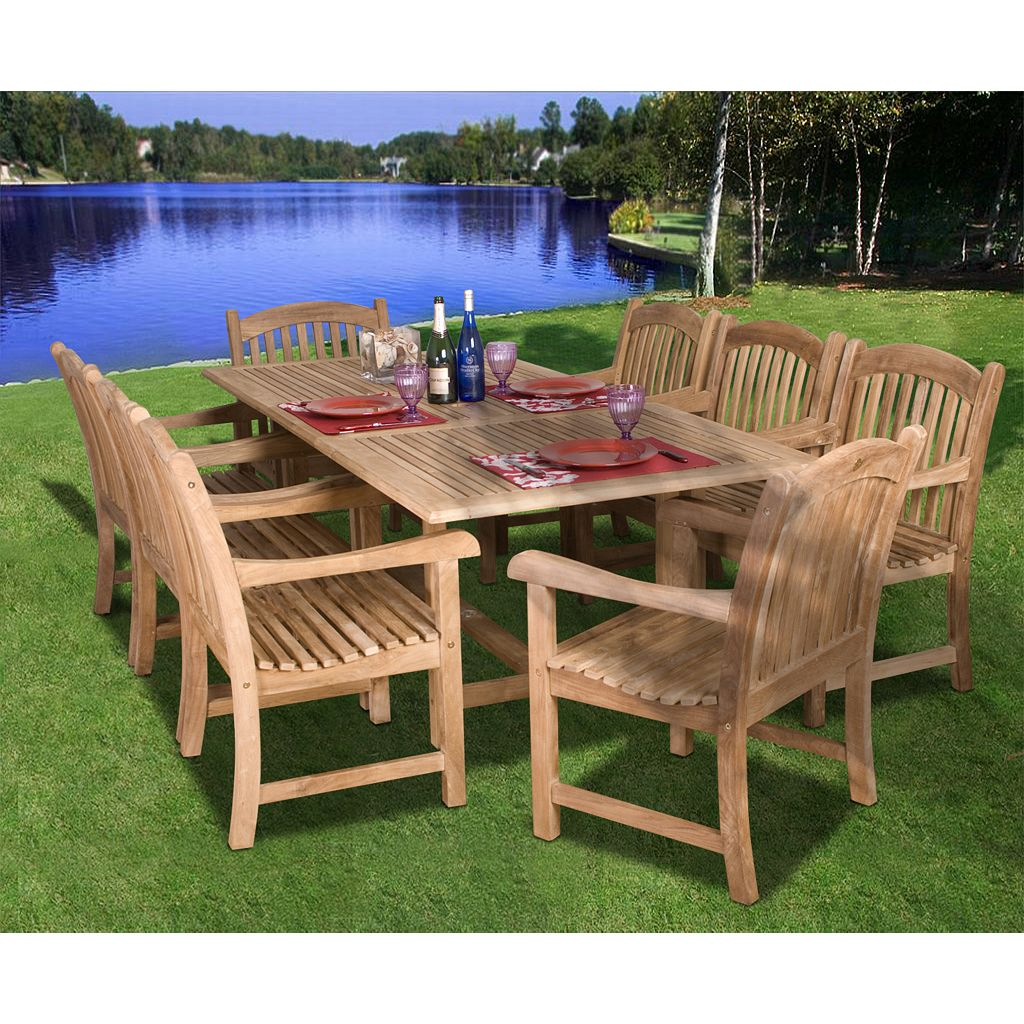 Amazonia Teak Trafford Rectangular Dining 9-piece Set