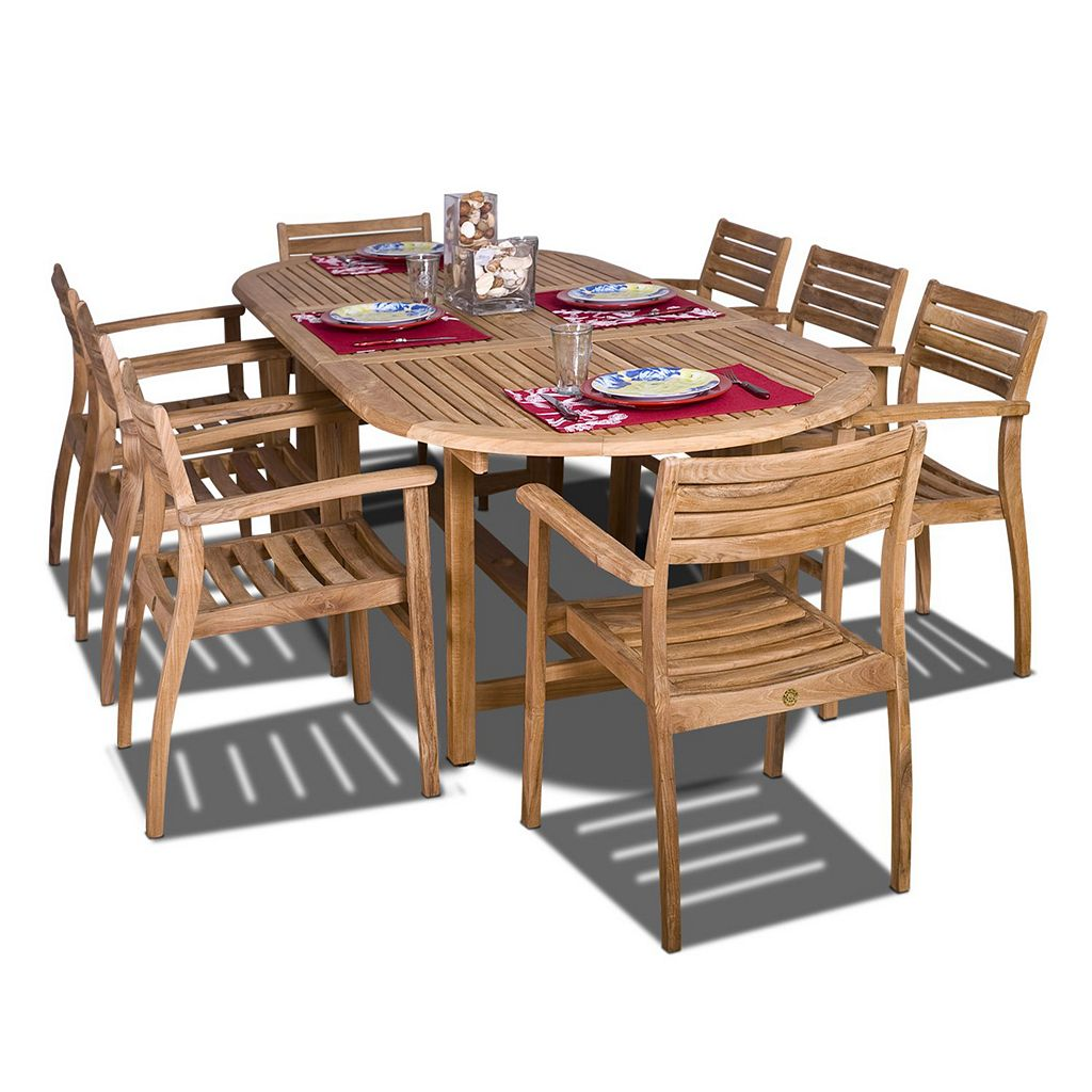 Amazonia Teak 9-pc. Wels Extendable Dining Set - Outdoor