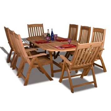 Amazonia Teak Linz 9-pc. Extendable Oval Dining Set - Outdoor