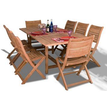 Amazonia Teak Auburn 9-pc. Extendable Rectangular Dining Set - Outdoor