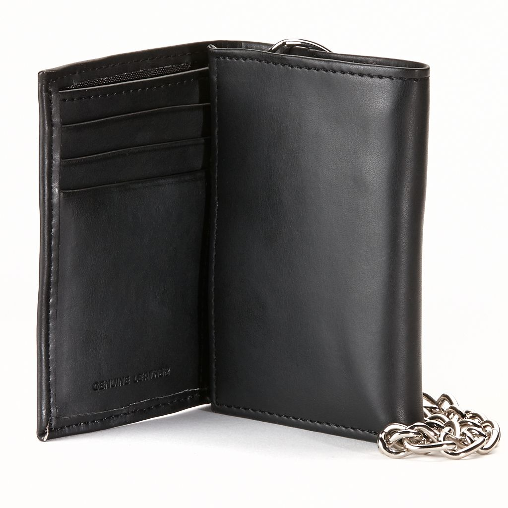 Dickies Black Trifold Wallet & Chain - Men