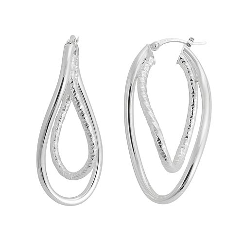 Silver Classics Sterling Silver Textured Twist Drop Earrings