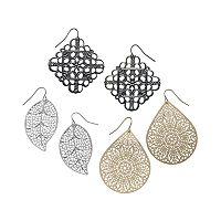 Mudd® Filigree Leaf Teardrop & Drop Earring Set