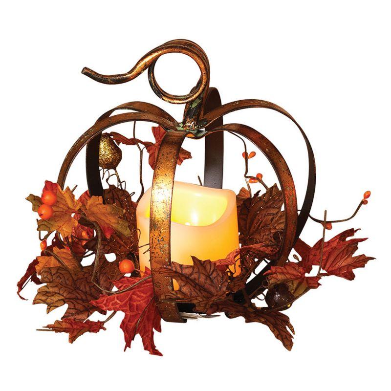 Gerson 2-pc. Pumpkin Centerpiece & LED Pillar Candle Set