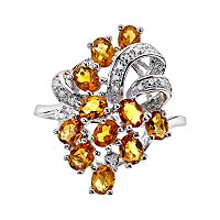 Sterling Silver Citrine & Diamond Accent Ring