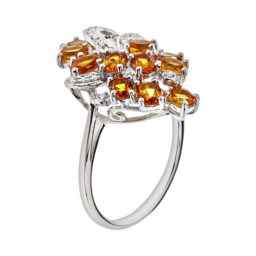 Sterling Silver Citrine and Diamond Accent Ring