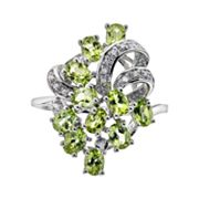 Sterling Silver Peridot & Diamond Accent Ring