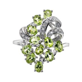 Sterling Silver Peridot and Diamond Accent Ring