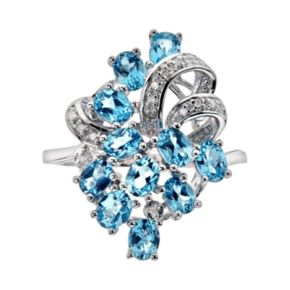 Sterling Silver Swiss Blue Topaz and Diamond Accent Ring
