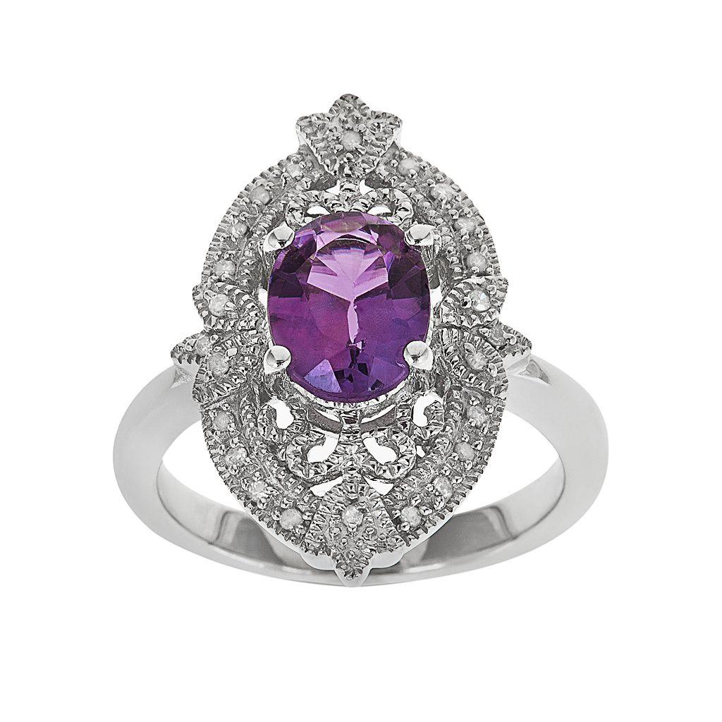 Sterling Silver Amethyst & 1/10-ct. T.W. Diamond Ring