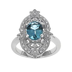 Sterling Silver Swiss Blue Topaz & 1/10-ct. T.W. Diamond Ring