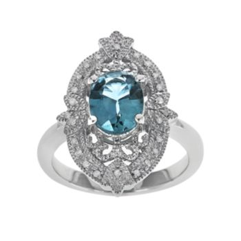 Sterling Silver Swiss Blue Topaz and 1/10-ct. T.W. Diamond Ring