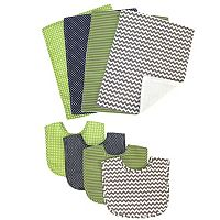 Trend Lab 8 pc Perfectly Preppy Bib & Burp Cloth Set