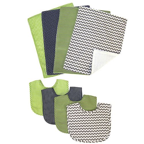 Trend Lab 8-pc. Perfectly Preppy Bib & Burp Cloth Set