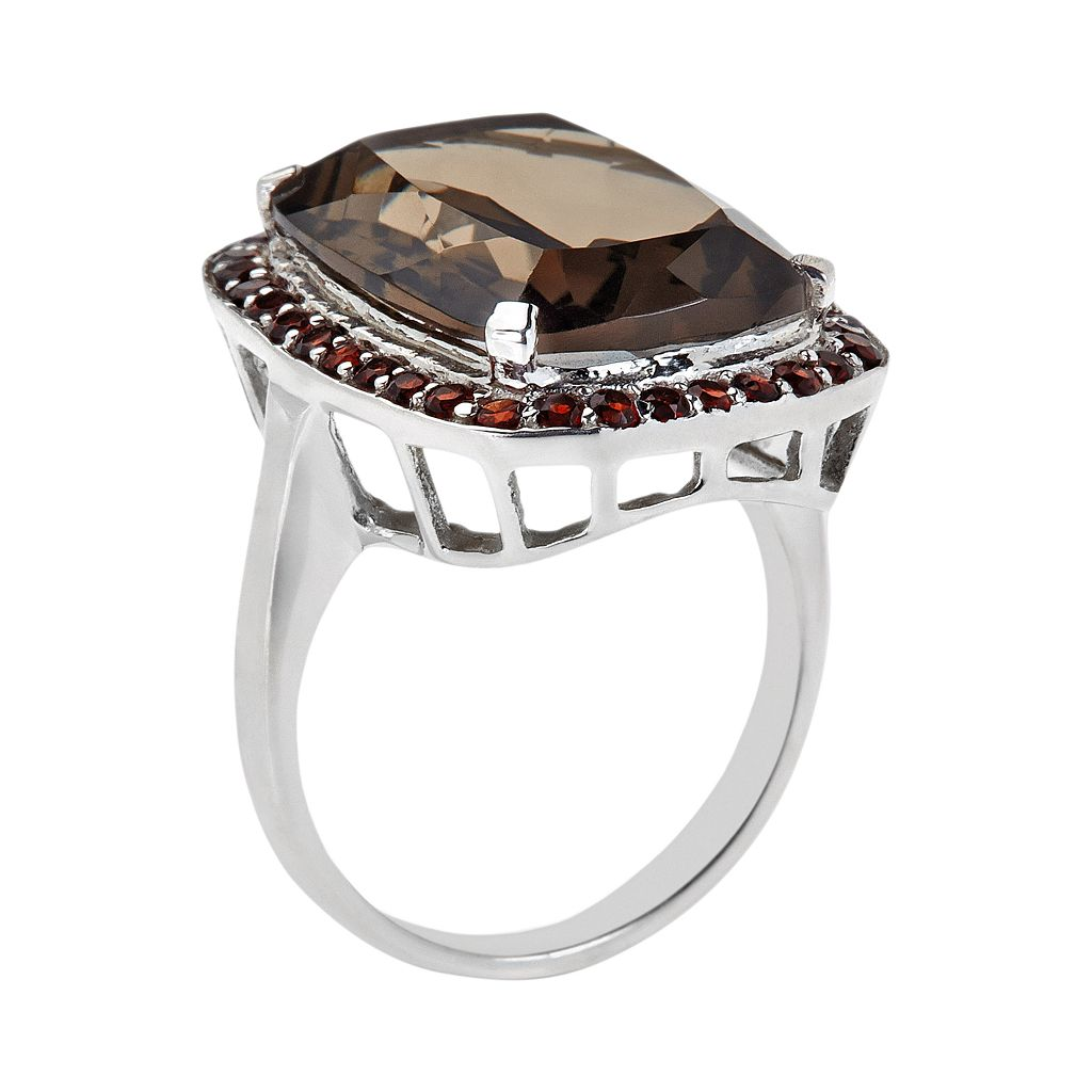 Sterling Silver Smoky Quartz and Garnet Halo Ring