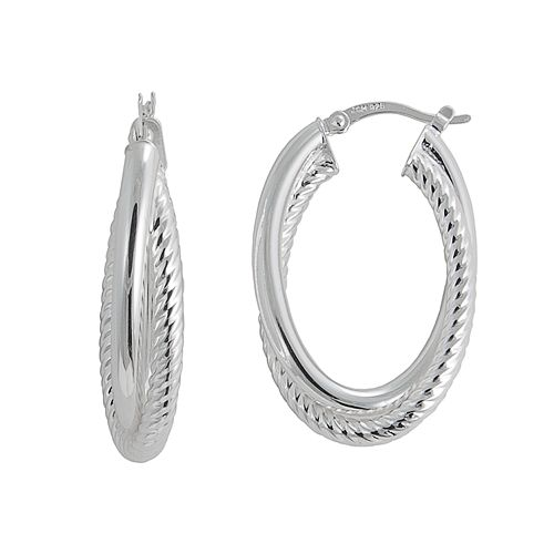 Silver Classics Sterling Silver Twisted Double Oval Hoop Earrings