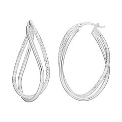 Silver Classics Sterling Silver Twist Oval Hoop Earrings