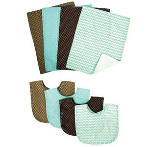 Trend Lab 8-pc. Cocoa Mint Bib & Burp Cloth Set