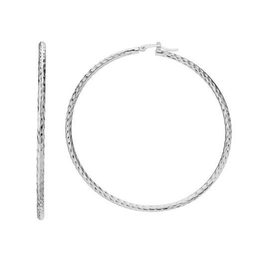 Silver ClassicsSterling Silver Textured Tube Hoop Earrings