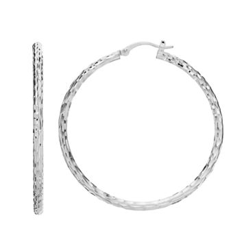 Silver Classics Sterling Silver Textured Tube Hoop Earrings