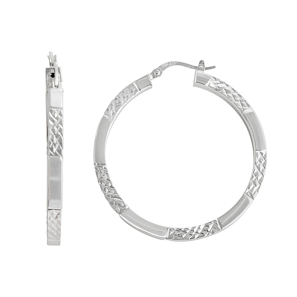 Silver Classics Sterling Silver Textured Stripe Hoop Earrings
