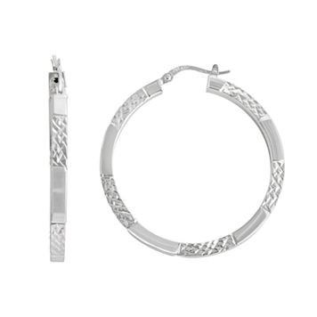Silver Classics Sterling Silver Textured Stripe Hoop Earrings