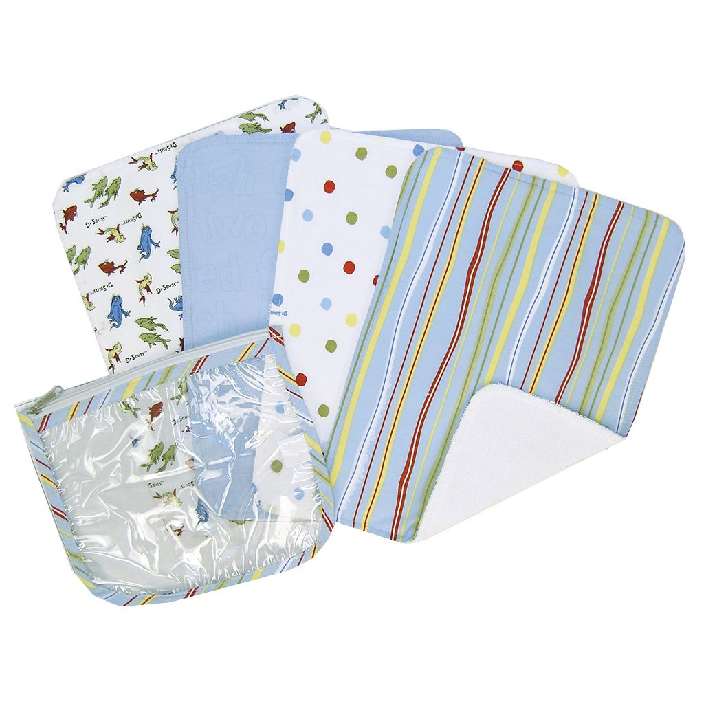 Dr. Seuss One Fish Two Fish 4-pk. Burp Cloths by Trend Lab