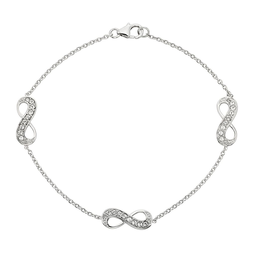 Diamond Essence Sterling Silver Crystal & Diamond Accent Infinity Bracelet - Made with Swarovski Crystals
