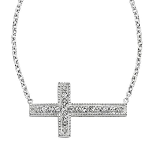 Diamond Essence Sterling Silver Crystal and Diamond Accent Sideways Cross Necklace  - Made with Swar...