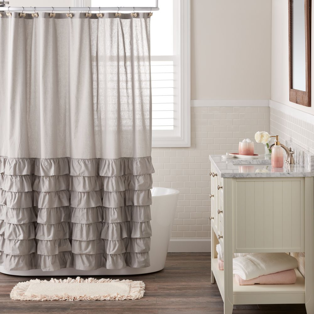 lauren conrad ella ruffle fabric shower curtain