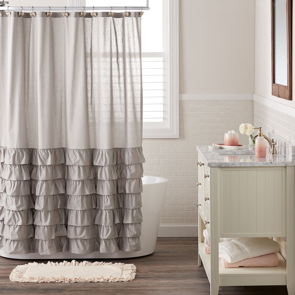 White fabric shower curtain - Lc Lauren Conrad Ella Ruffle Fabric Shower Curtain