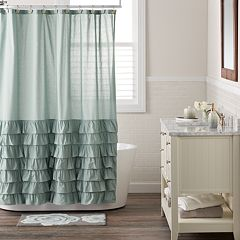 LC Lauren Conrad Ella Ruffle Fabric Shower Curtain White Gray Blush Teal