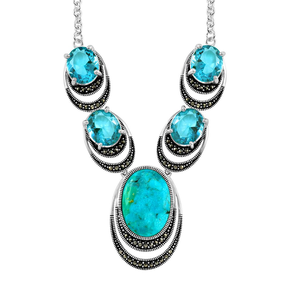 Le Vieux Silver-Plated Turquoise Cabochon & Blue Topaz Necklace - Made with Swarovski Marcasite