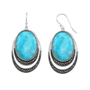 Le Vieux Silver - Plated Turquoise Cabochon and Marcasite Drop Earrings - Made with Swarovski Marcasite