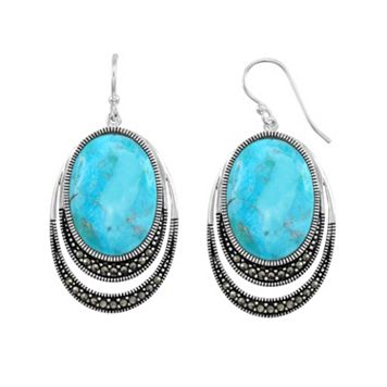 Le Vieux Silver-Plated Turquoise Cabochon & Marcasite Drop Earrings - Made with Swarovski Marcasite