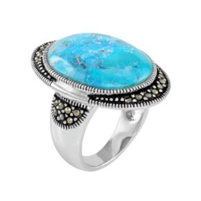Le Vieux Silver - Plated Turquoise and Marcasite Ring - Made with Swarovski Marcasite