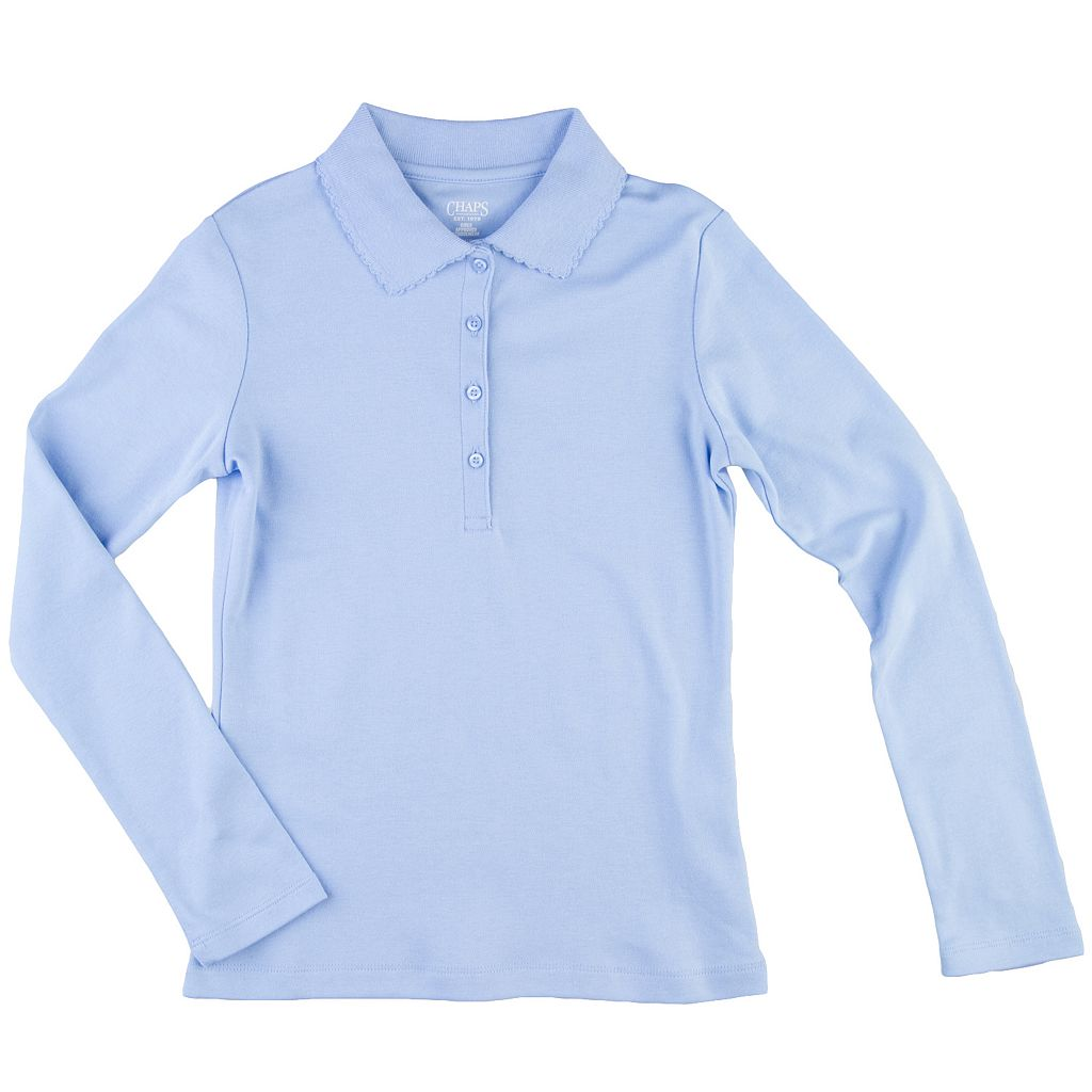 Girls 7-16 Chaps Long Sleeve 4-Button School Uniform Polo