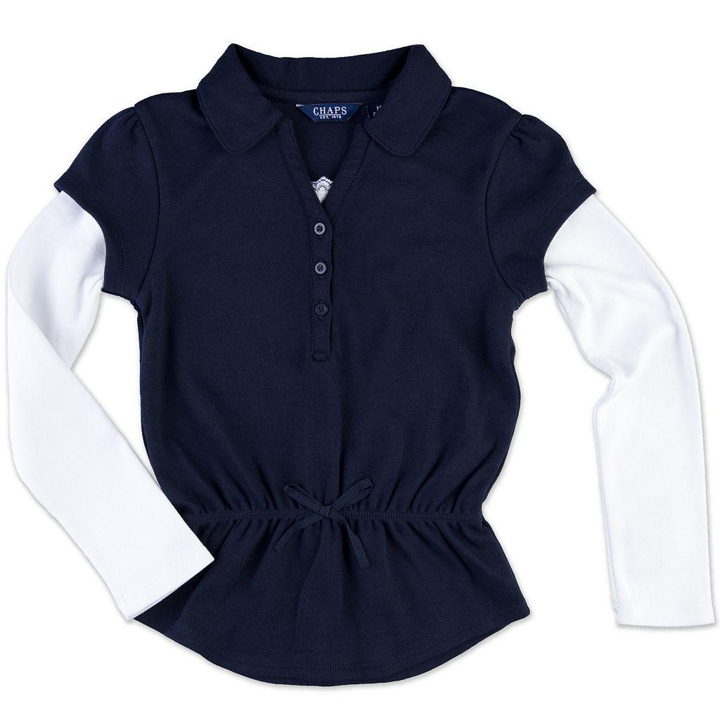 Girls 4-6x Chaps Mock-Layer School Uniform Polo