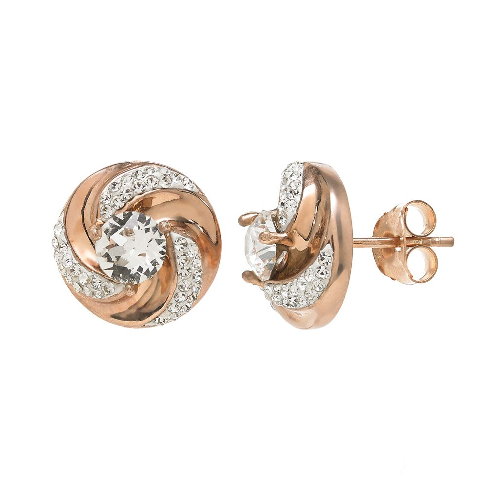 Sterling 'N' Ice 14k Rose Gold Over Silver Crystal Swirl Stud Earrings - Made with Swarovski Crystals