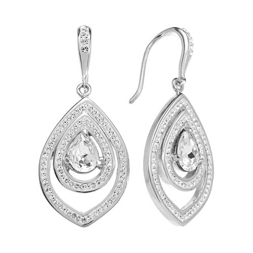Sterling 'N' Ice Sterling Silver Crystal Teardrop Earrings - Made with Swarovski Crystals