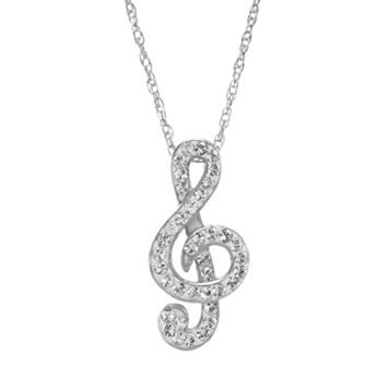 DiamonLuxe Crystal Sterling Silver Treble Clef Pendant - Made with Swarovski Crystals