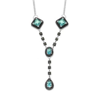 Le Vieux Silver - Plated Glass and Marcasite Y Necklace - Made with Swarovski Marcasite