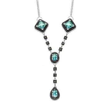 Le Vieux Silver-Plated Glass & Marcasite Y Necklace - Made with Swarovski Marcasite