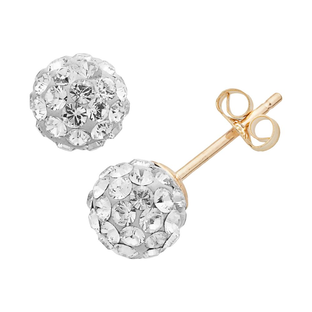 Gold N Ice 10k Crystal Ball Stud Earrings Made With Swarovski Crystals