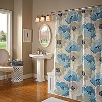 m.style Poppies Fabric Shower Curtain