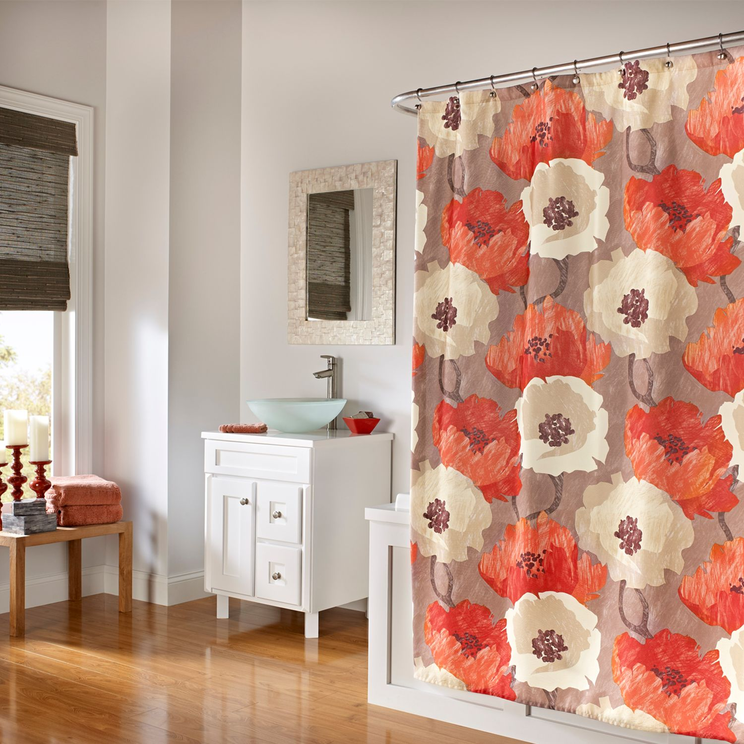 Marvelous M.style Poppies Fabric Shower Curtain