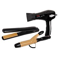 CHI Air 3 pc Tourmaline Ceramic Styling Iron & Hair Dryer Travel Set