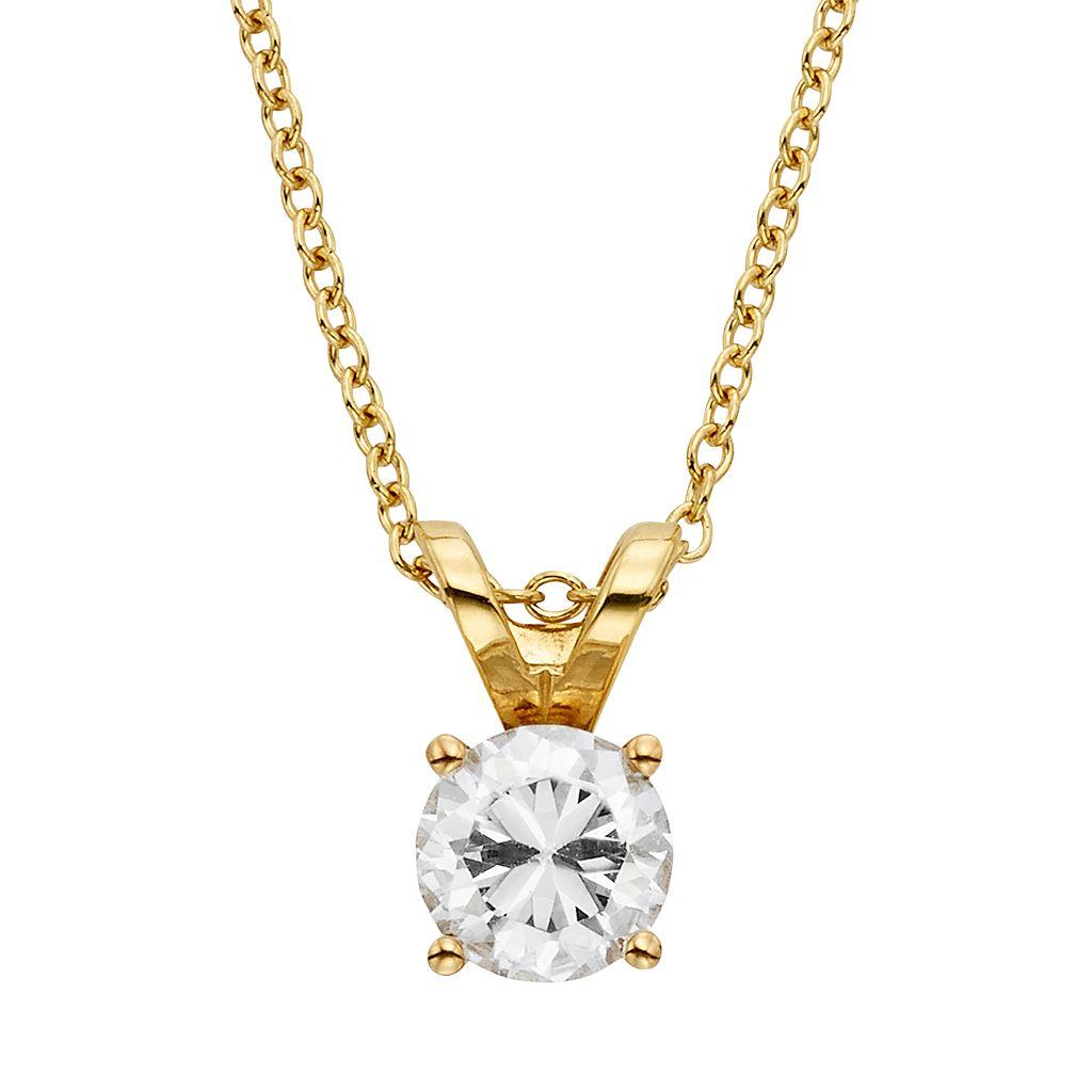 1/2 Carat T.W. IGL Certified Diamond 18k Gold Solitaire Pendant Necklace
